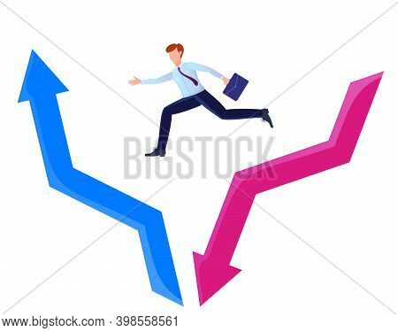 The Concept Of Economic Recovery. Businessman Jumping From The Red Arrow Falling Down To The Blue Ar
