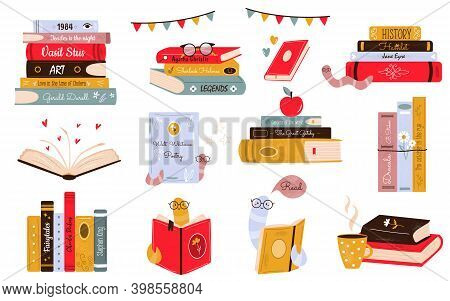 Big Set Of Colorful Books, Book Stacks, Piles. Hand Drawn Library With Funny Bookworm.