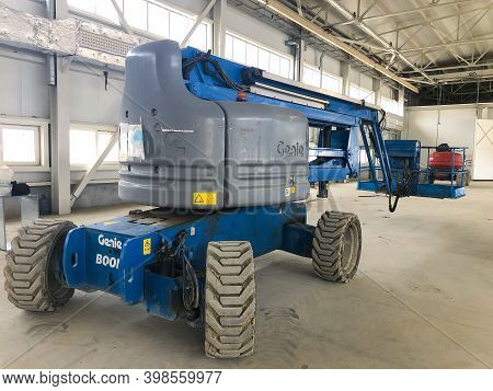 Genie Manlift Platform At Industrial Hangar. Istanbul, Turkey - December 2020