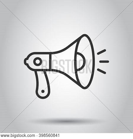Megaphone Speaker Icon In Flat Style. Bullhorn Sign Vector Illustration On White Isolated Background