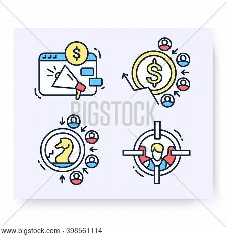 Color Set Of Customer Attraction Icons. Customer Acquisition. Client Attraction Strategy, Cost, Targ