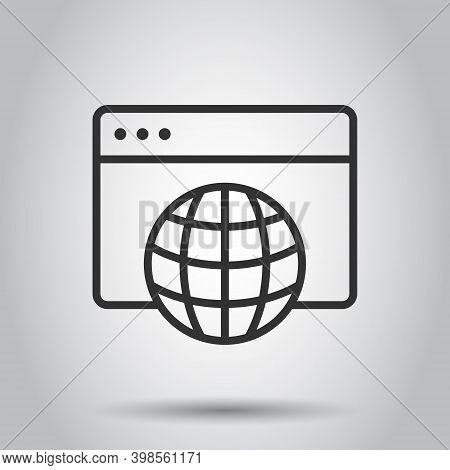 Website Domain Icon In Flat Style. Global Internet Address Vector Illustration On White Isolated Bac