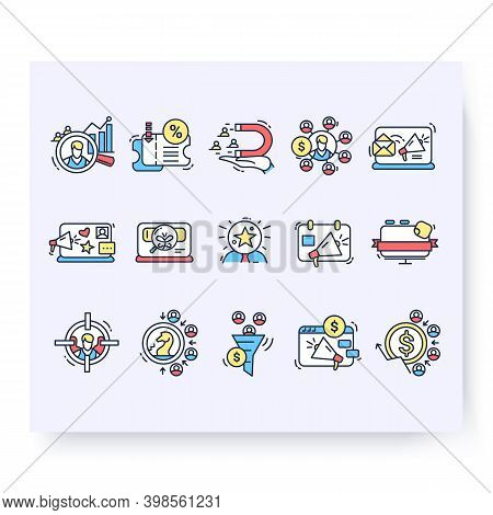 Color Set Of Customer Attraction Icons. Customer Acquisition. Client Attraction. Strategy For Startu