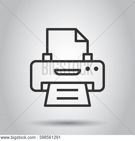 Office Printer Icon In Flat Style. Fax Vector Illustration On White Isolated Background. Text Printo