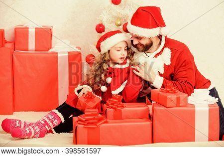 Happy Childhood. Christmas Family Holiday. Father Christmas Concept. Family Christmas Celebration Tr