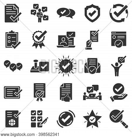 Approve Icon Set In Flat Style. Check Mark Vector Illustration On White Isolated Background. Tick Ac