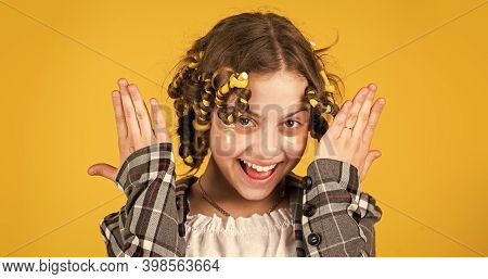 No Heat Hairstyle. Kid With Patches On Face. Pose With Hair Curlers. Happy Girl In Hair Curlers Play
