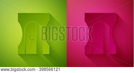 Paper Cut Pencil Sharpener Icon Isolated On Green And Pink Background. Paper Art Style. Vector Illus