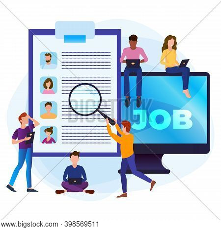 Online Job Search Concept. A Group Of People Are Looking For A Job. Selection Of Resumes And Intervi