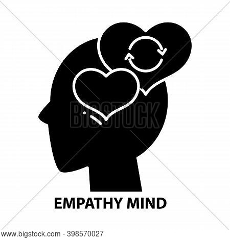 Empathy Mind Icon, Black Vector Sign With Editable Strokes, Concept Illustration