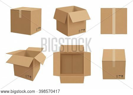 Box Mockup. Open And Closed Cardboard Package Vector Realistic Template. Illustration Realistic Card