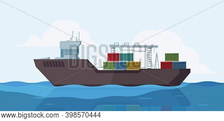 Cargo Ship In Sea. Outdoor Marine Landscape With Barge Ship With Containers Vector Cartoon Backgroun