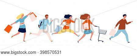 People Run With Purchases. Shopping Time, Sale Or Discounts. Open Mall, Woman Man Hurry To Black Fri