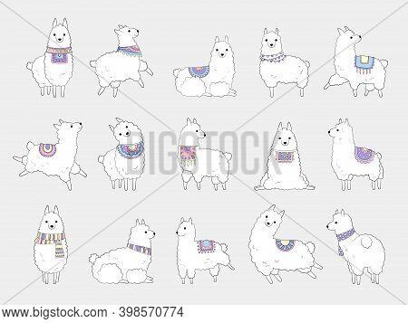 Funny Llamas. Cute Alpaca Camel And Wild Lamas Ethnic Animals Vector Doodle Characters. Illustration