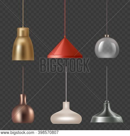 Lamp Realistic. Hanging Luxury Interior Decoration Modern Lamp Colored Lights Vector Illustrations.