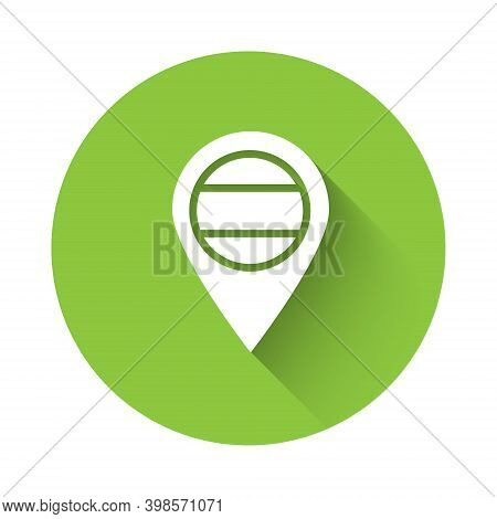 White Location Russia Icon Isolated With Long Shadow. Navigation, Pointer, Location, Map, Gps, Direc