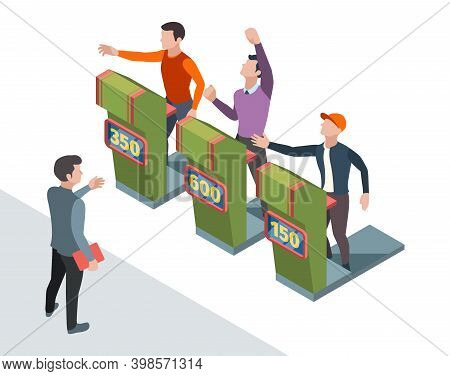 Tv Quiz Participant. People Pushing Buttons And Answer Questions In Smart Game Entertainment Vector