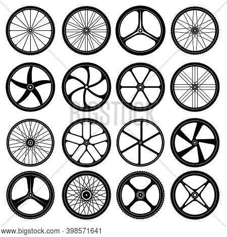 Bicycle Wheels. Tires Silhouettes Bike Wheels With Metal Spokes Vector Symbols Collection. Illustrat