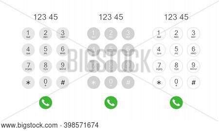 Set Phone Dial Screen. Display Keypad With Numberst For Mobile Phone. Vector Stock