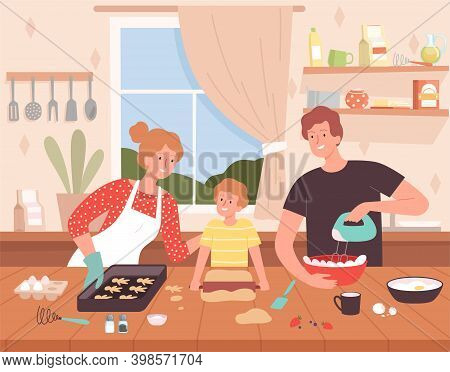 Preparing Food On Kitchen. Cartoon Background With Happy Family Characters Making Delicious Products