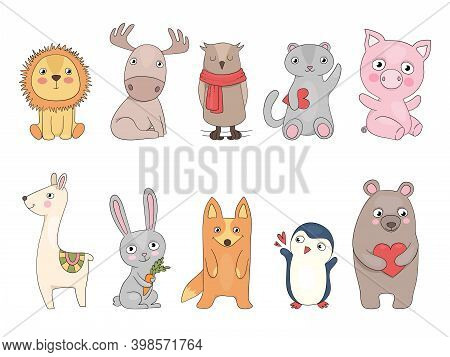 Cute Animals. Owl Hedgehog Tiger Panda Rabbit Vector Hand Drawn Zoo Collection For Kids. Owl And Fox