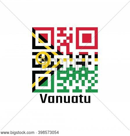 Qr Code Set The Color Of Vanuatu Flag. Red And Green With Black And Yellow Color Boar's Tusk Encircl