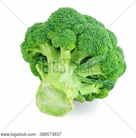 Broccoli Vegetable Isolated On White Background. Raw Green Broccoli Close Up