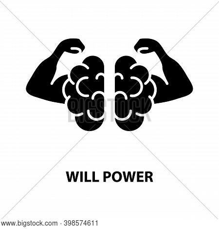 Will Power Icon, Black Vector Sign With Editable Strokes, Concept Illustration