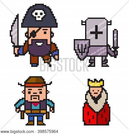 Pixel Character Vector Game Art Flat Icon.