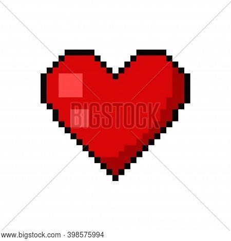 Pixel Heart Tattoo Vector Game Art Flat Icon.