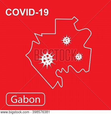 Ap Of Gabon Labeled Covid-19. Vector Illustration Of A Virus, Coronavirus, Epidemiology.