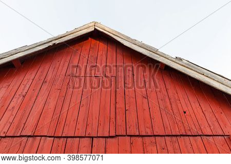 Red Wooden Gable Under White Sky, Rural Scandinavian Architecture Background