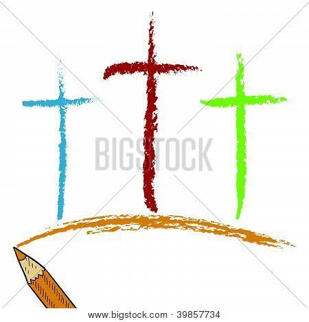 Calvary crosses colored pencil sketch
