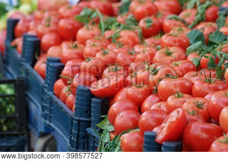 Boxes Of Ripe Tomatoes At Local Market Stall. Display Of Fresh Red Tomatoes At Street Vegetable Mark