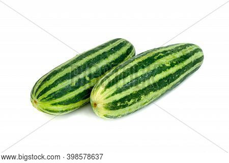 Cucumber Or Cucumis Melo Isolated On White Background