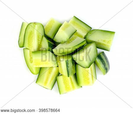 Sliced Cucumber Or Cucumis Melo Isolated On White Background
