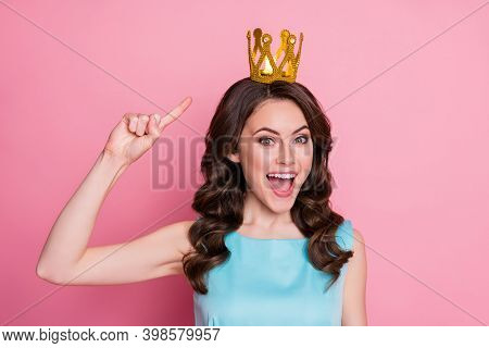 Closeup Photo Of Charming Lady Festive Event Prom Party Recognized As Prom Queen Direct Finger Head