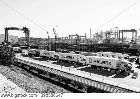 Panoramic View Of Tis Container Terminal In Largest Dry Cargo Port Of Ukraine. Black And White Indus