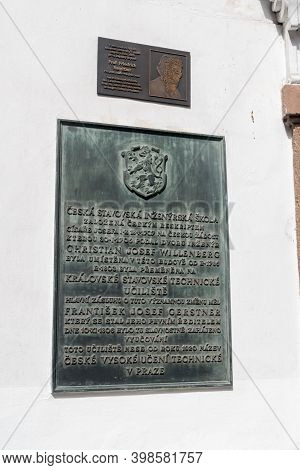 Prague, Czech Republic - July 10, 2020: Memorial Plaque Of Czech Civil Engineering School Founded By