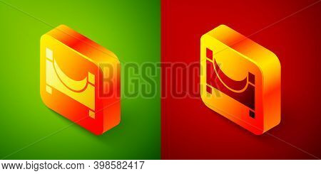 Isometric Skate Park Icon Isolated On Green And Red Background. Set Of Ramp, Roller, Stairs For A Sk