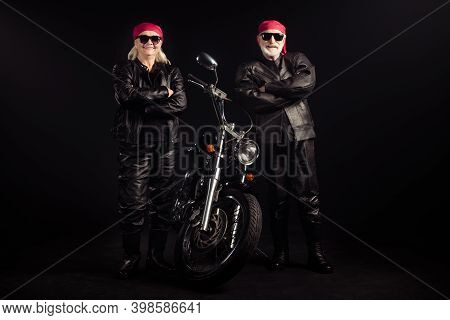 Full Length Photo Of Aged Bikers Man Lady Couple Drive Chopper Travel Feel Young Rock Moto Festival