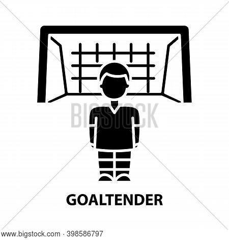 Goaltender Icon, Black Vector Sign With Editable Strokes, Concept Illustration