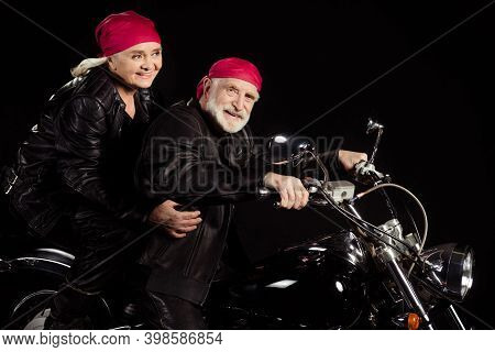 Profile Photo Of Aged Bikers Grey Hair Man Lady Married Couple Drive Speed Vintage Chopper Traveling