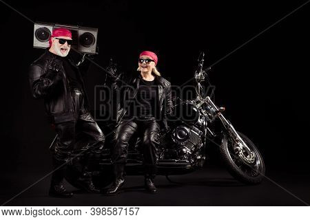 Photo Of Old Bikers Grey Hair Man Lady Couple Moto Chopper Rock Festival Meeting Listen Tape Recorde