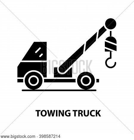 Towing Truck Symbol Icon, Black Vector Sign With Editable Strokes, Concept Illustration
