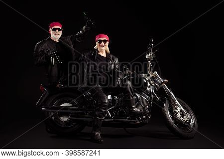 Photo Of Aged Bikers Grey Haired Man Lady Couple Sit Moto Chopper Feel Young Rock Festival Bring Man