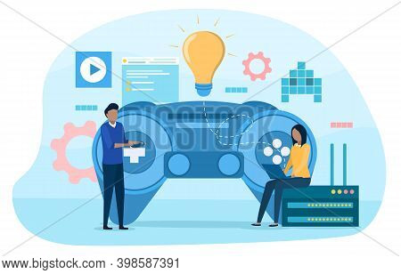 Two Characters Developing Computer Game. Abstract Concept Of Creative Game Design Development. Digit