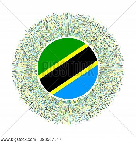 Flag Of Tanzania With Colorful Rays. Radiant Country Sign. Shiny Sunburst With Tanzania Flag. Appeal