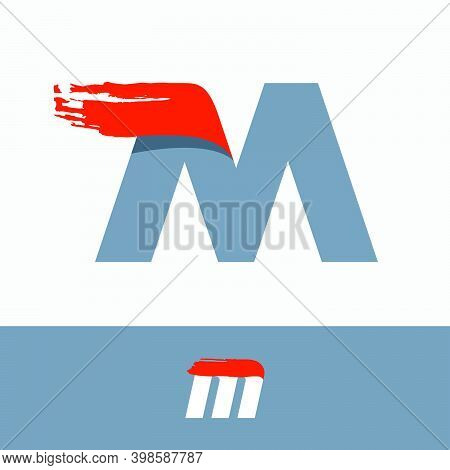Fast Speed M Letter Logo With Red Dry Brush Stroke. Oblique Font For Sportswear Labels, T-shirt Prin