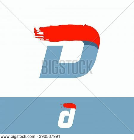 Fast Speed D Letter Logo With Red Dry Brush Stroke. Oblique Font For Sportswear Labels, T-shirt Prin